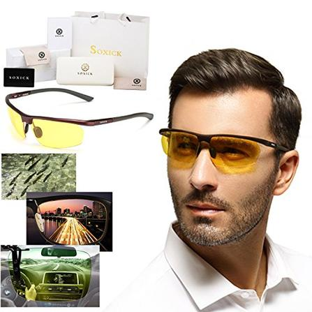 83b84b5966 Soxick Polarized Professional HD Night Vision Glasses for Driving - Sport  Bike Protection Sunglasses - Flexible Frame and FREE Car Clip Holder -  Designed in ...