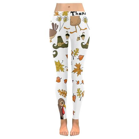 4c4d7937e58a3c Custom Autumn Thanksgiving Turkey Stretchy Capri Leggings Skinny Pants for  Yoga Running Pilates Gym